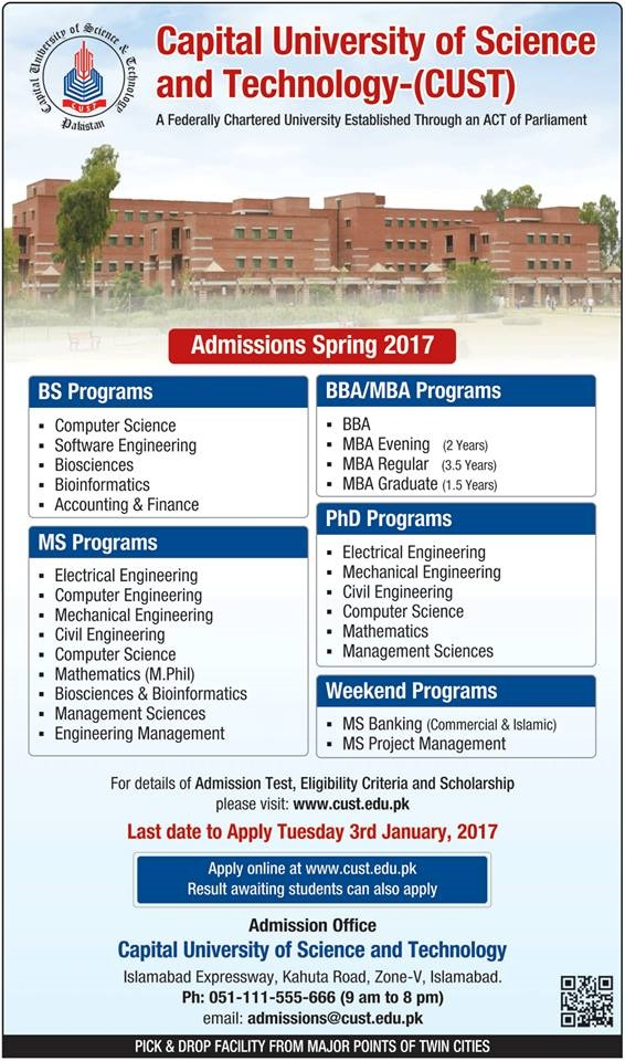 Spring Admission Updates for Capital University of Science & Technology (CUST) 2017