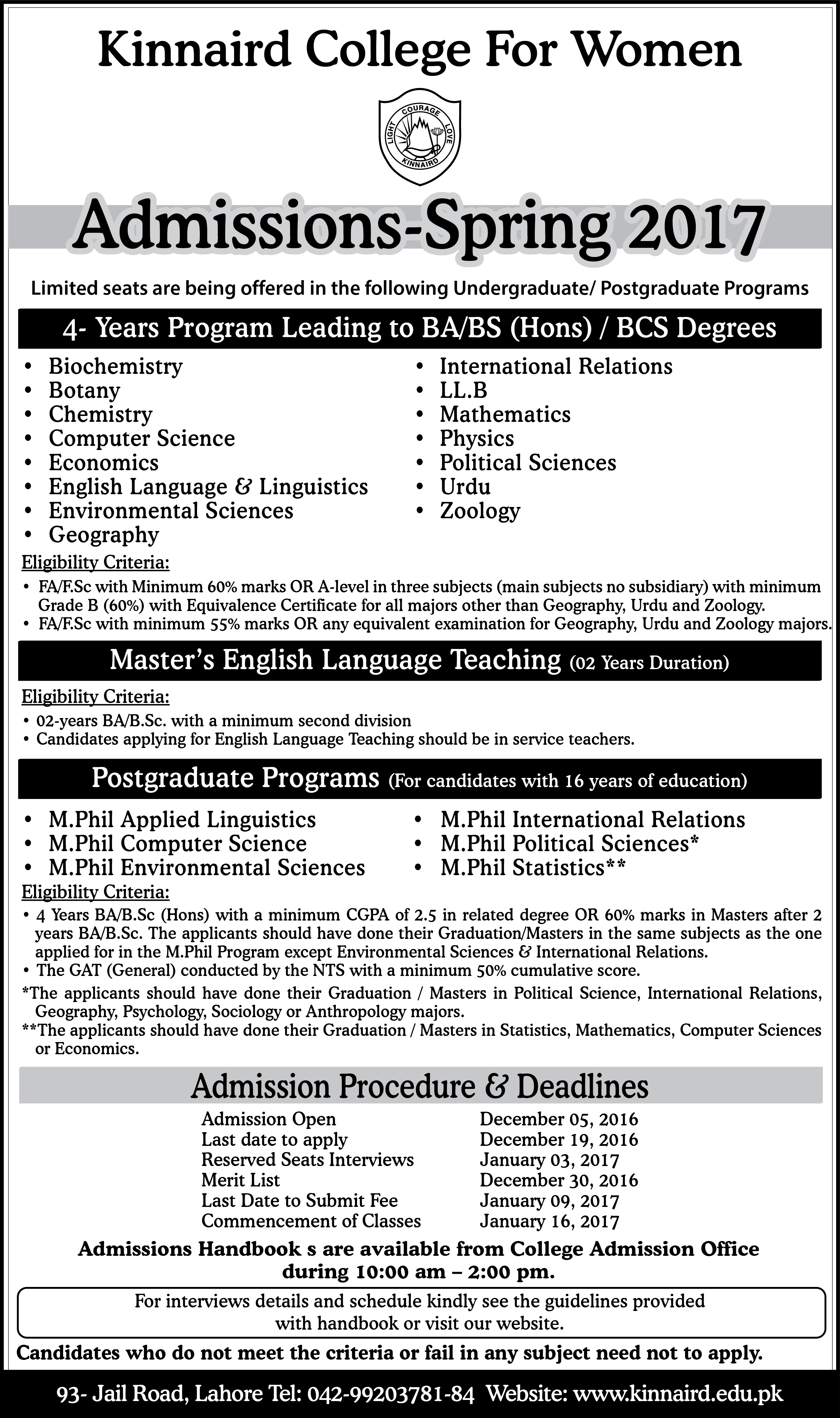 Kinnaird College for Women Spring Admissions 2017
