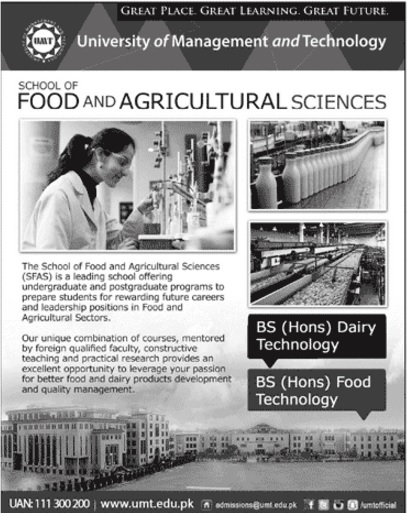 UMT School of food and agricultural sciences