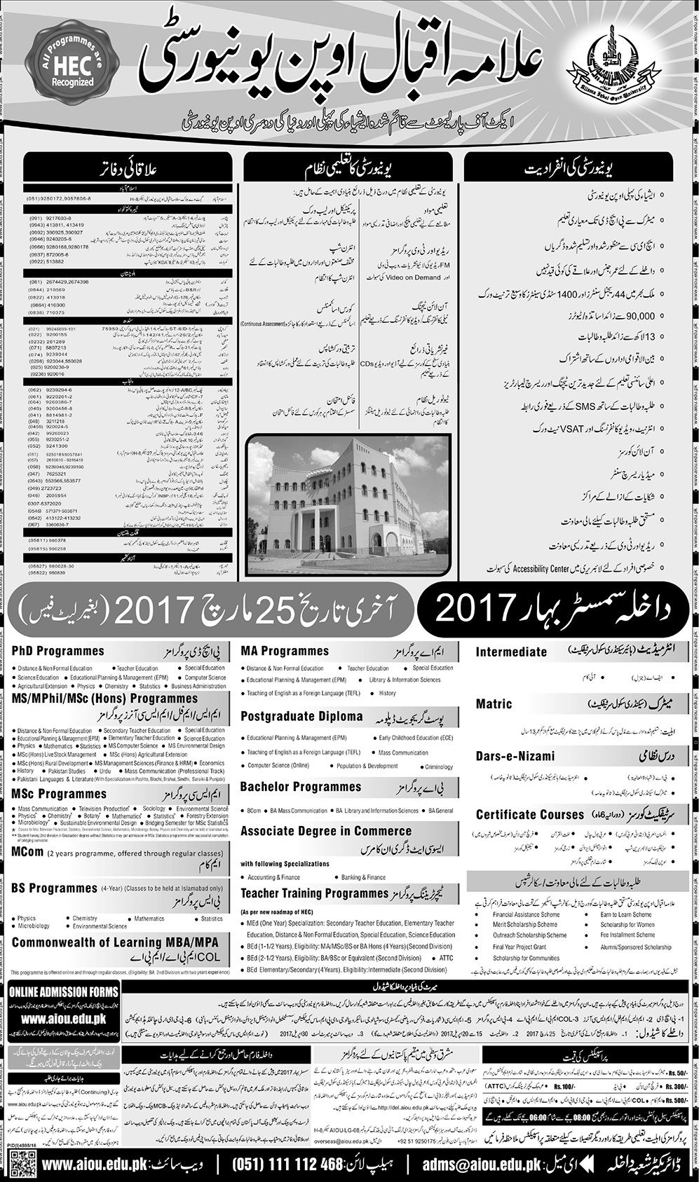 Allama Iqbal Open University, Spring Admission '17
