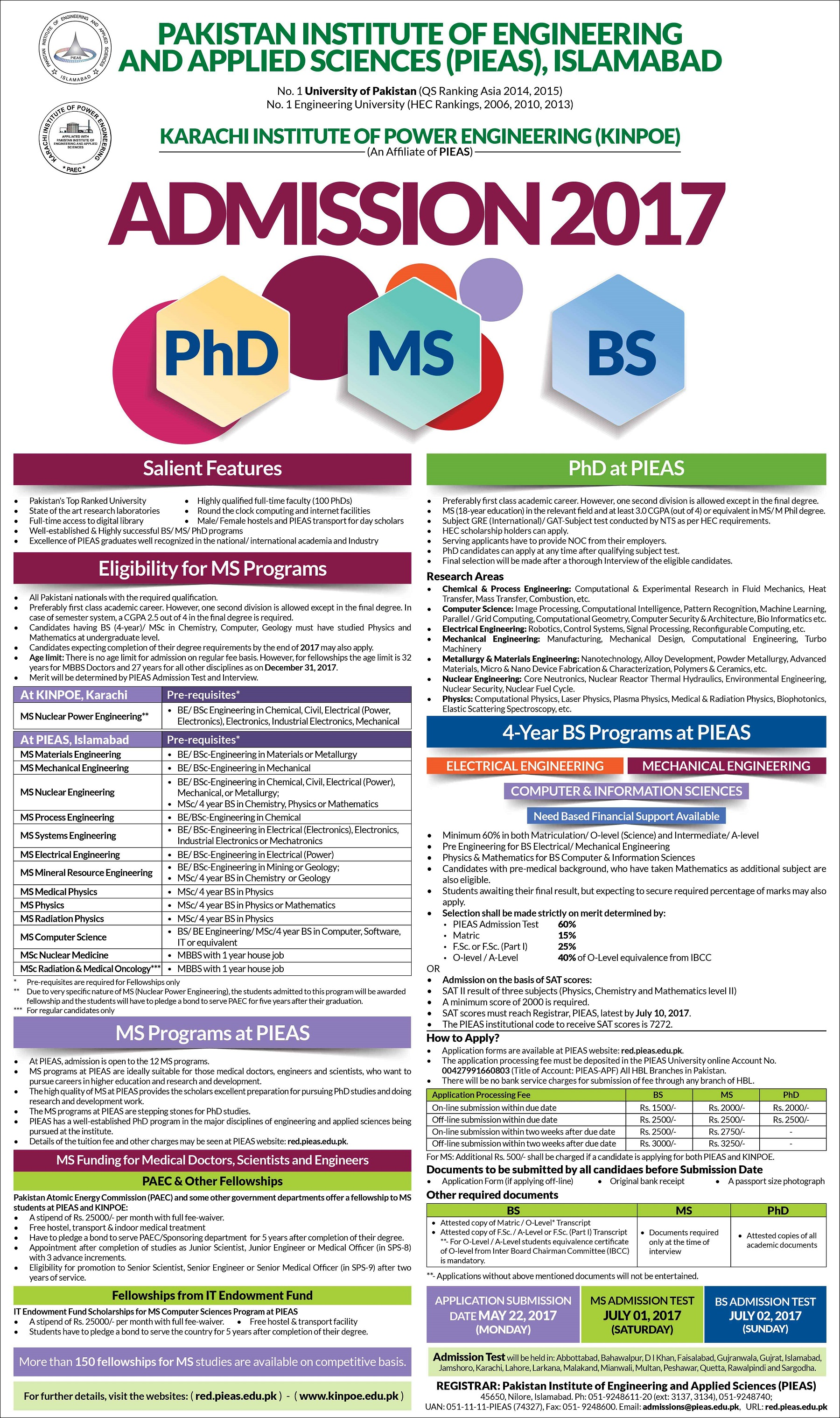 Pakistan Institute of Engineering & Applied Sciences (PIEAS), Islamabad Admissions Open 2017