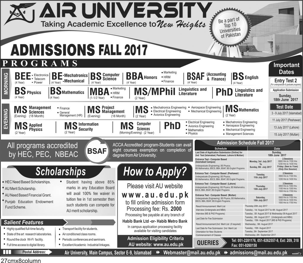 AIR UNIVERSITY ADMISSION_Ad2nd2017(1)