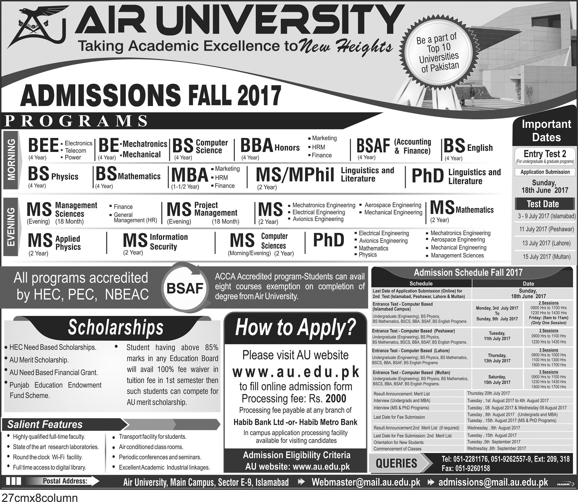 Air University  (AU) Admissions Open  Fall – 2017