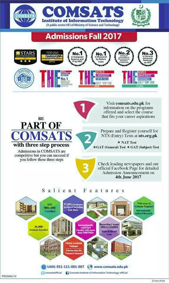 COMSATS Institute of Information Technology Admissions Fall – 2017