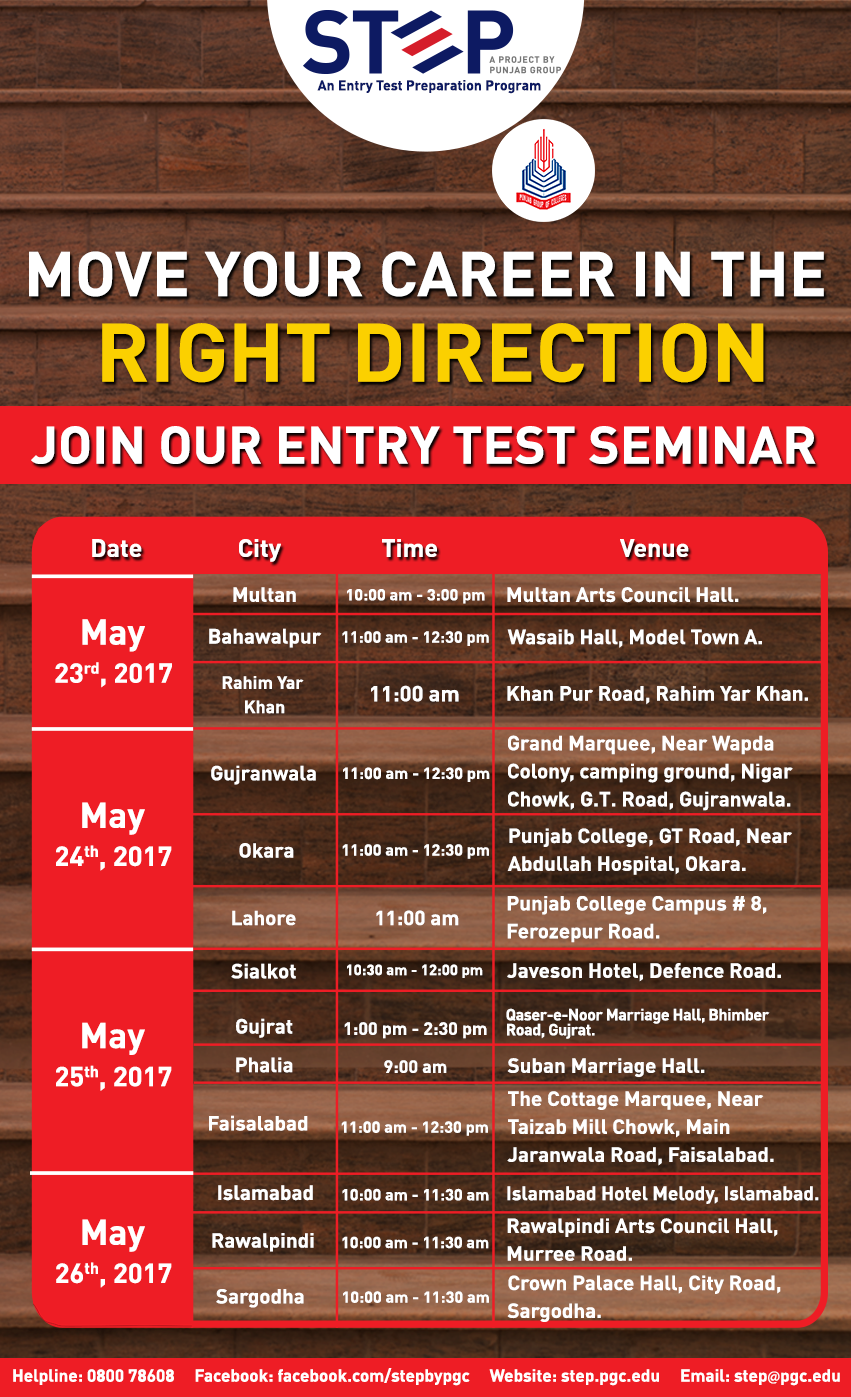STEP will be conducting Entry Test Seminar in various cities of Pakistan