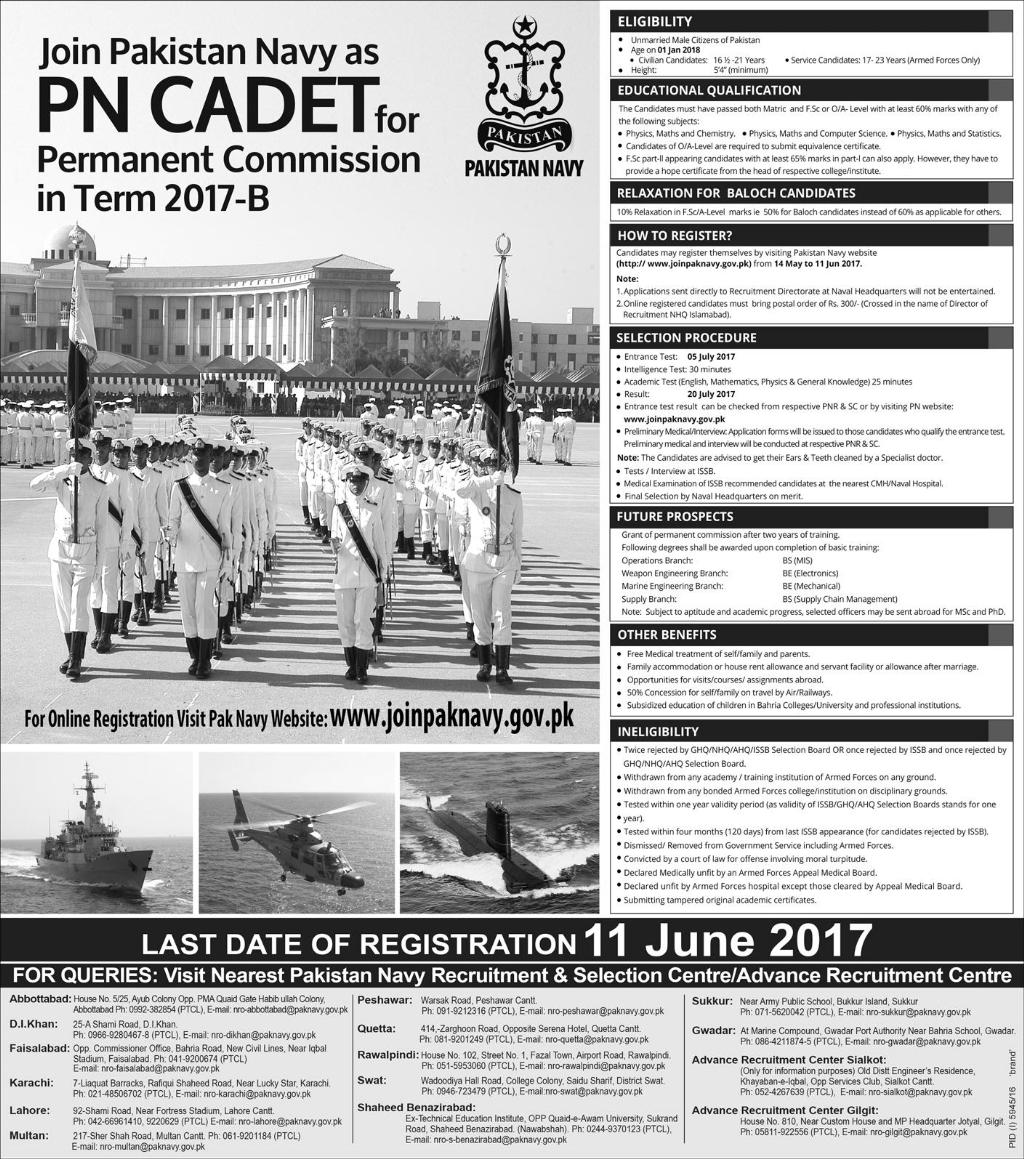 Join Pakistan Navy as PN Cadet for Permanent Commission in Term 2017 – B