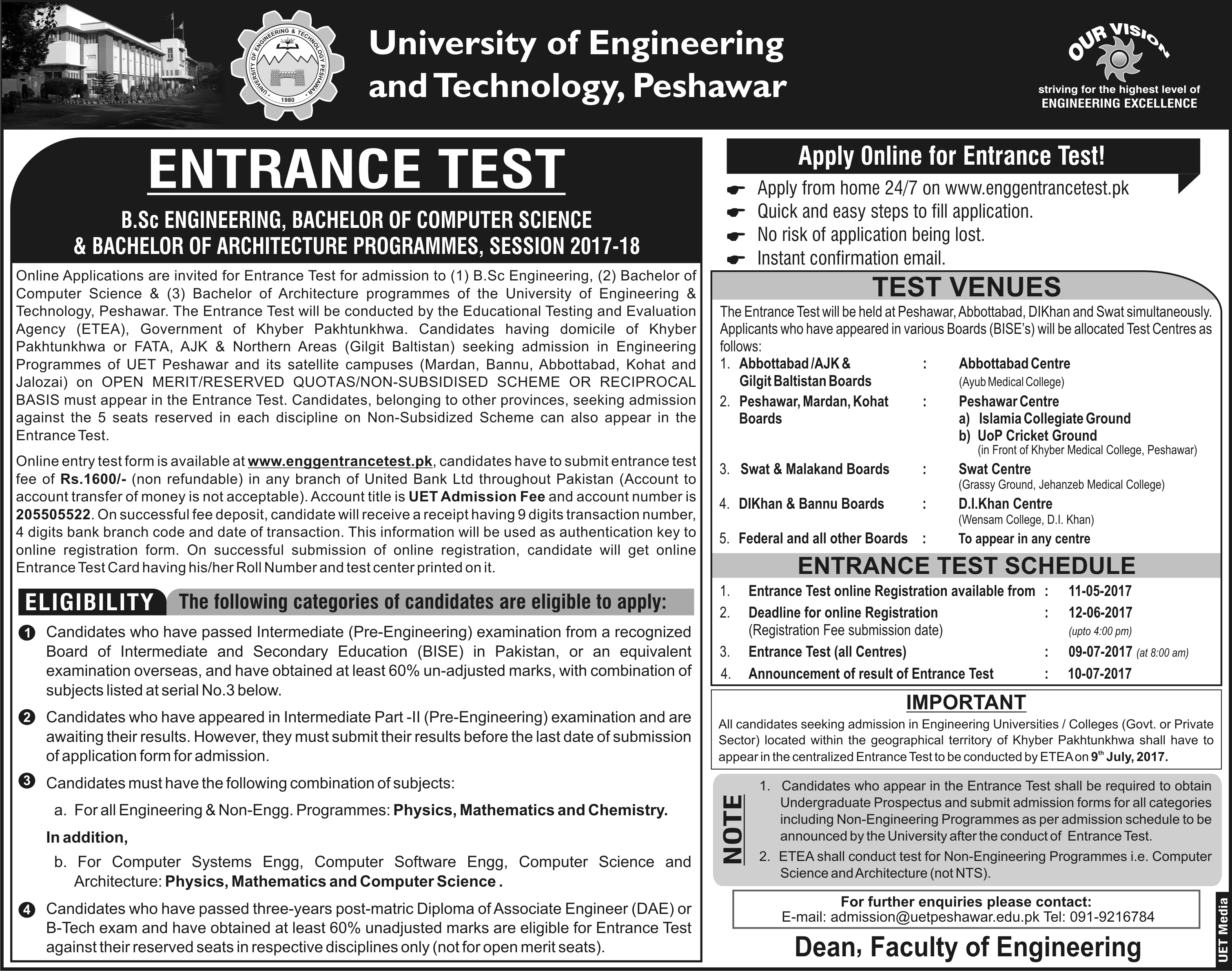UET Peshawar Entrance Test Notice 2017
