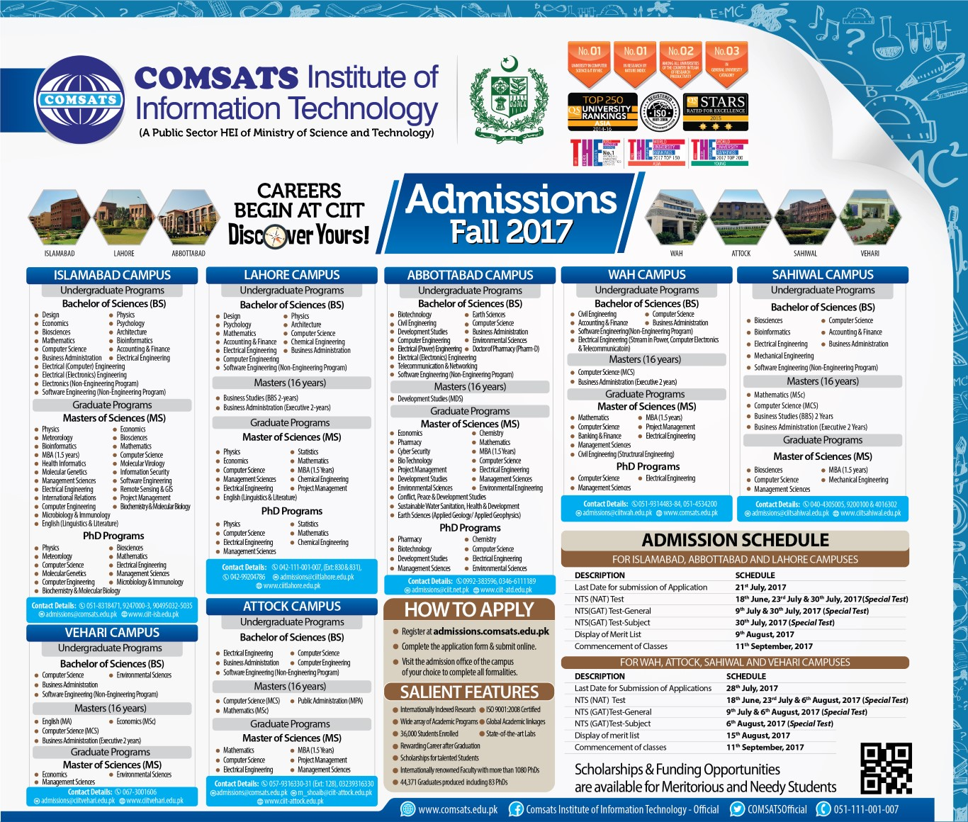 COMSATS Institute of Information Technology – Admissions Open 2017