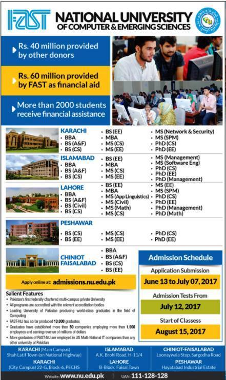 FAST National University of Computer & Emerging Sciences Admissions Open-2017