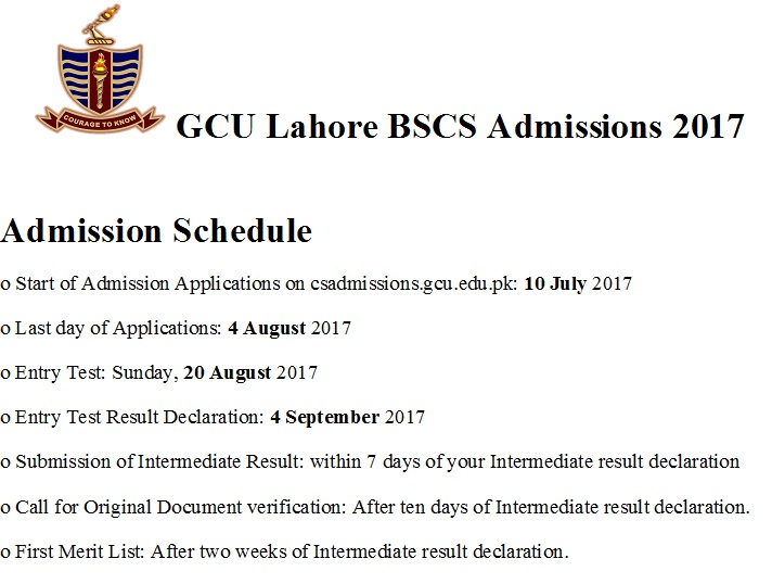 Government College University (GCU), Lahore BSCS Admissions Open – 2017