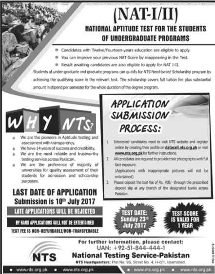 NAT- I/II National Aptitude Test for Undergraduate Programs