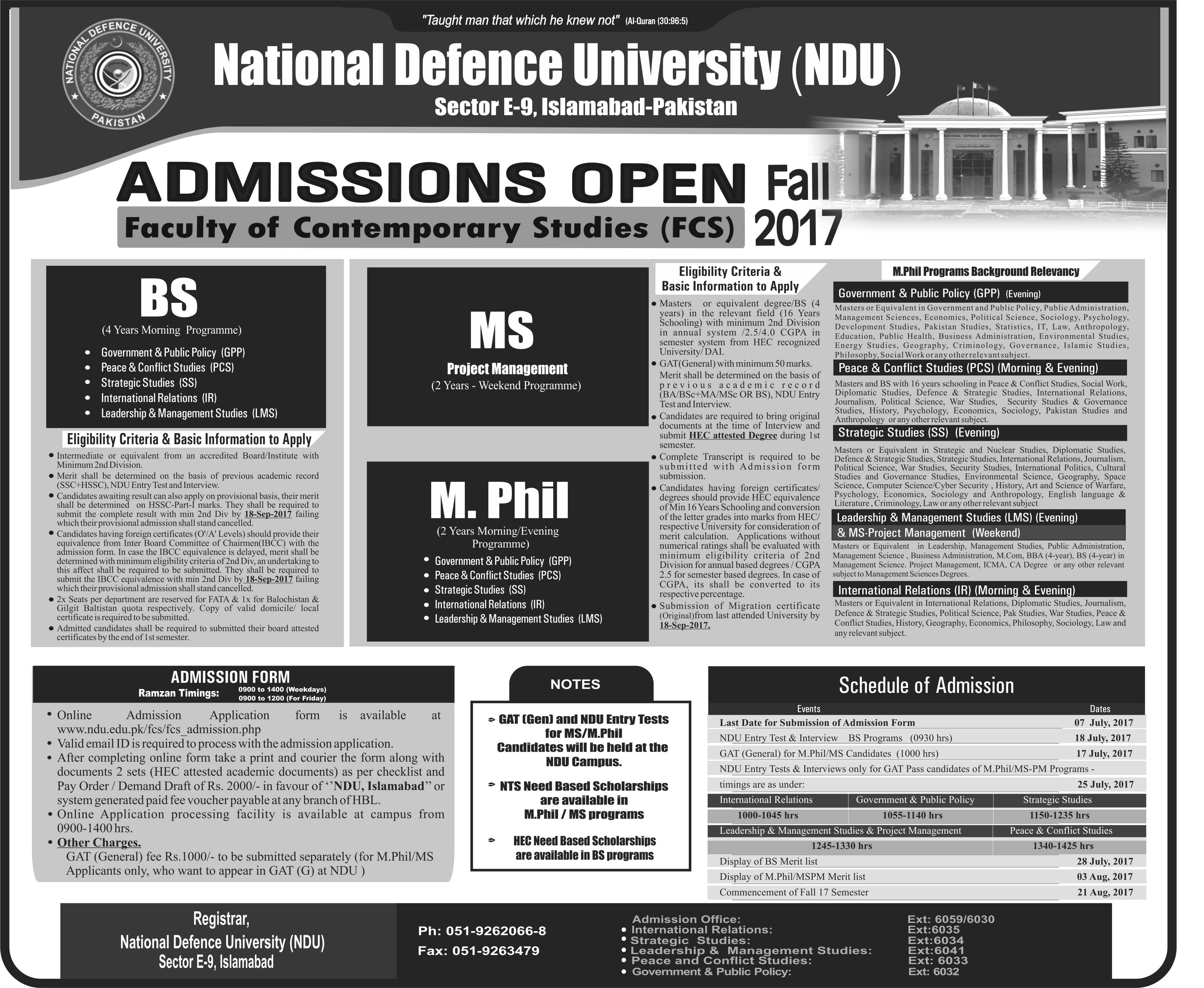 decline admission to college national defense ndu step 10500