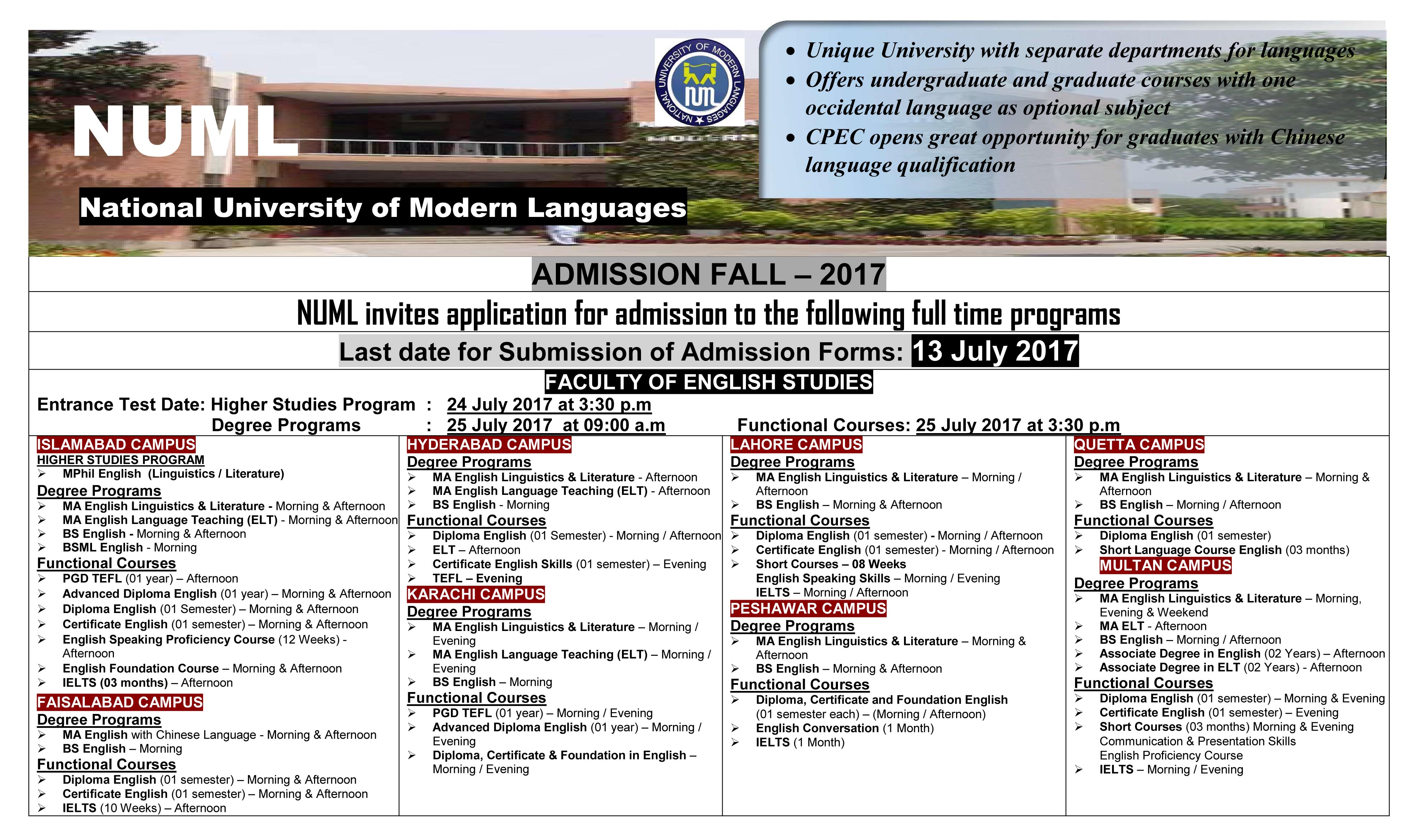 National University of Modern Languages (NUML) Admissions Open Fall – 2017