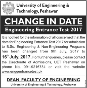 University of Engineering & Technology, Peshawar – Change in Date