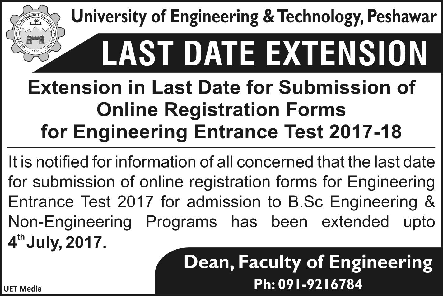 University of Engineering & Technology (UET), Peshawar