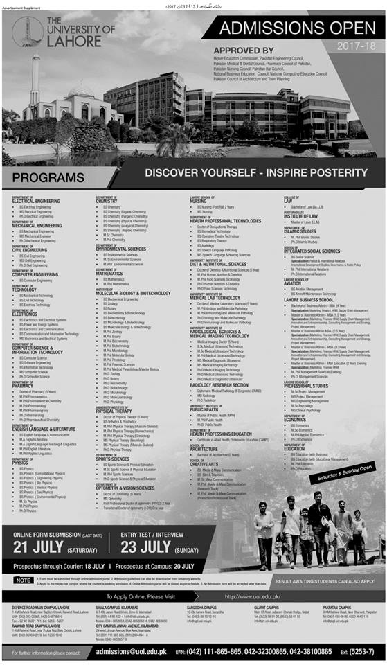 The University of Lahore (UOL) Admissions Open – 2017