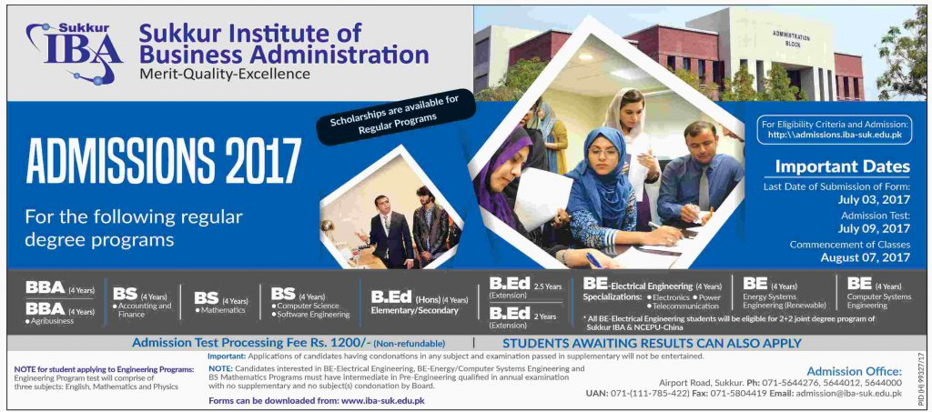 Sukkur Institute of Business Administration - Admissions Open 2017