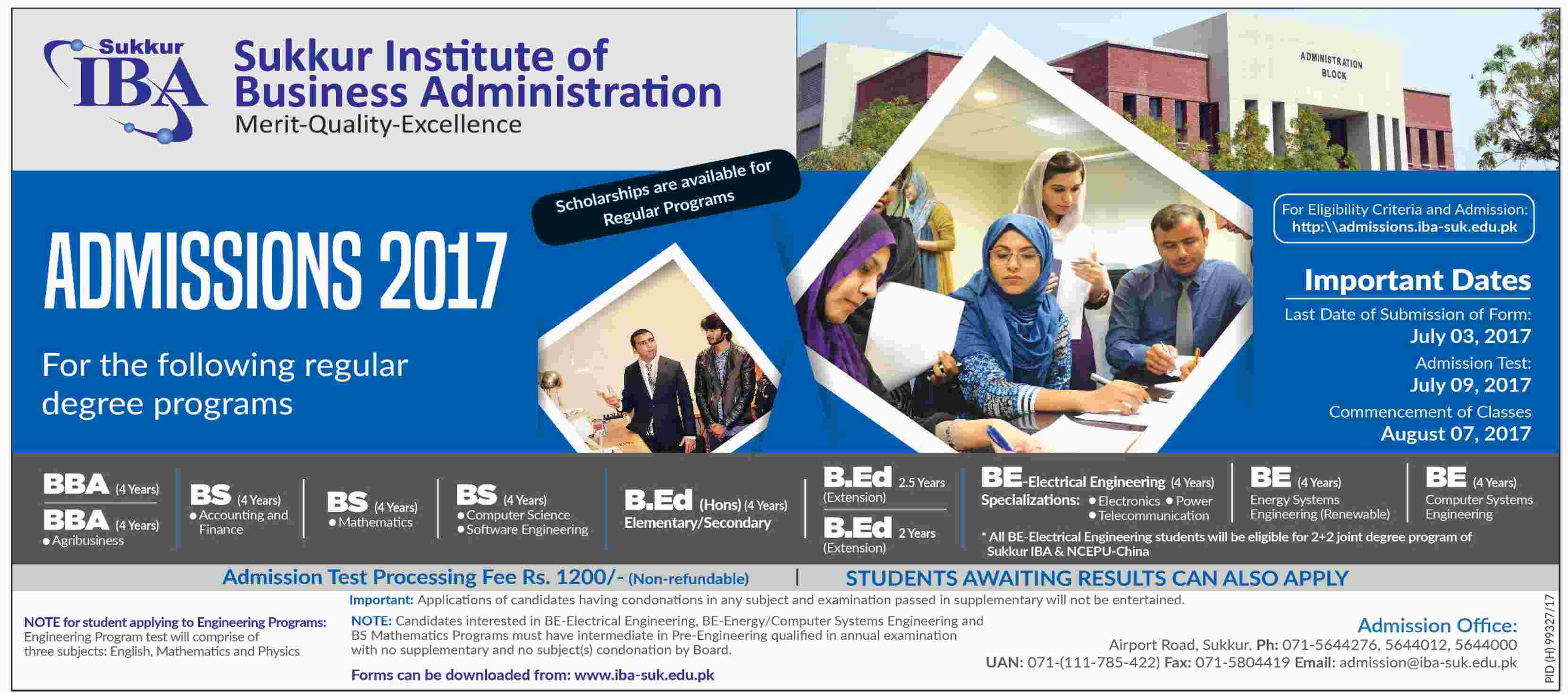 Sukkur Institute of Business Administration –  Admissions Open 2017