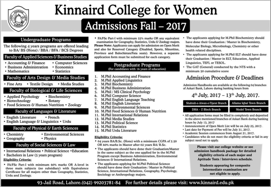 Kinnaird College for Women Admissions Fall - 2017