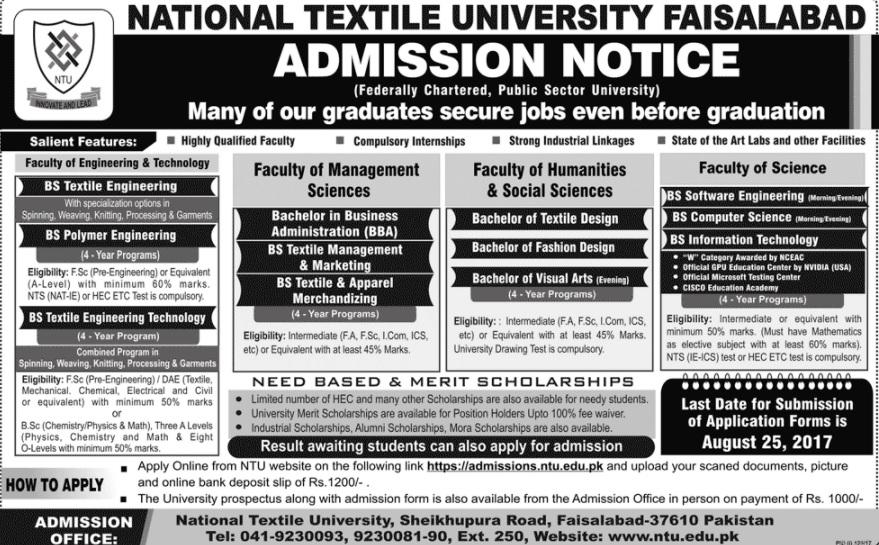 National Textile University, Faisalabad Admissions Open – 2017