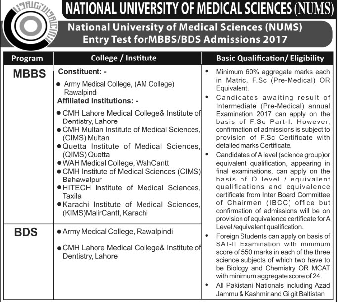 National University of Medical Sciences (NUMS) Admissions Open – 2017