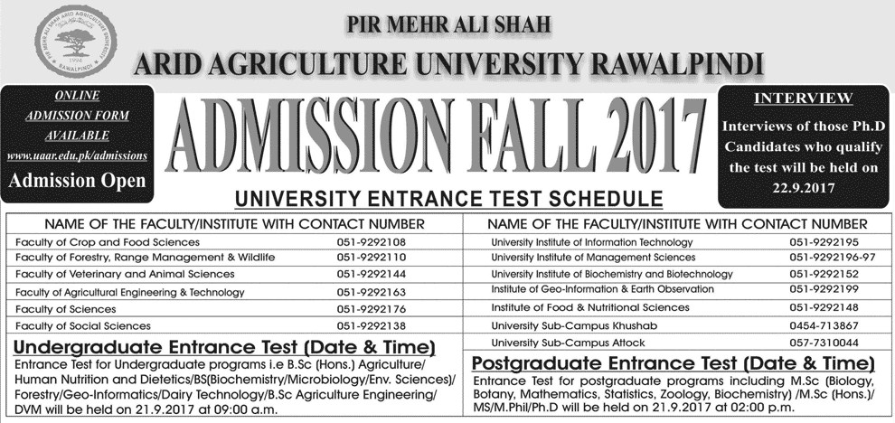 Arid Agriculture University, Rawalpindi Admissions Open – 2017