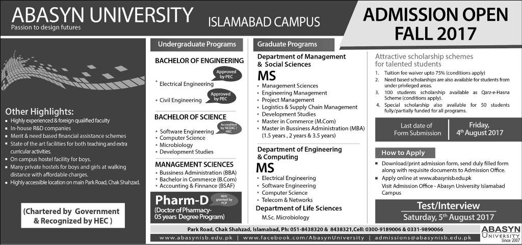 ABASYN University (Islamabad Campus) Admissions Open – 2017