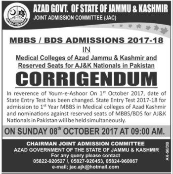 Azad Govt. of State of Jammu & Kashmir Joint Admission Committee (JAC) (State Entry Test)