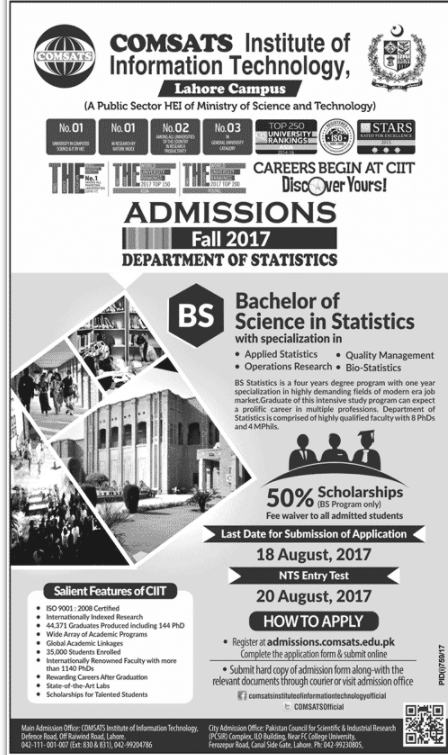 COMSATS Institute of Information Technology  Admissions Open – 2017 (Lahore Campus)