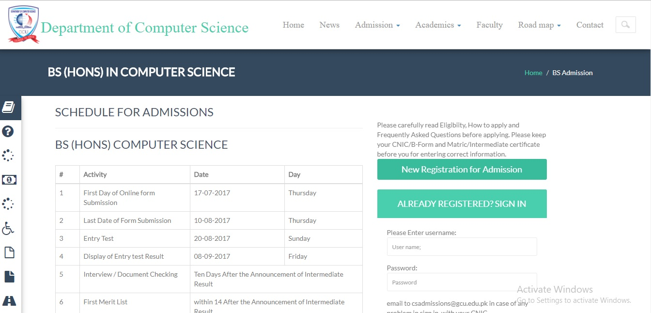 Government College University (GCU), Lahore Admissions Open – 2017