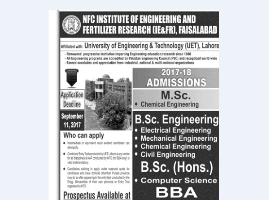 NFC Institute of Engineering & Fertilizer Research (IR & FR), Faisalabad Admissions Open – 2017
