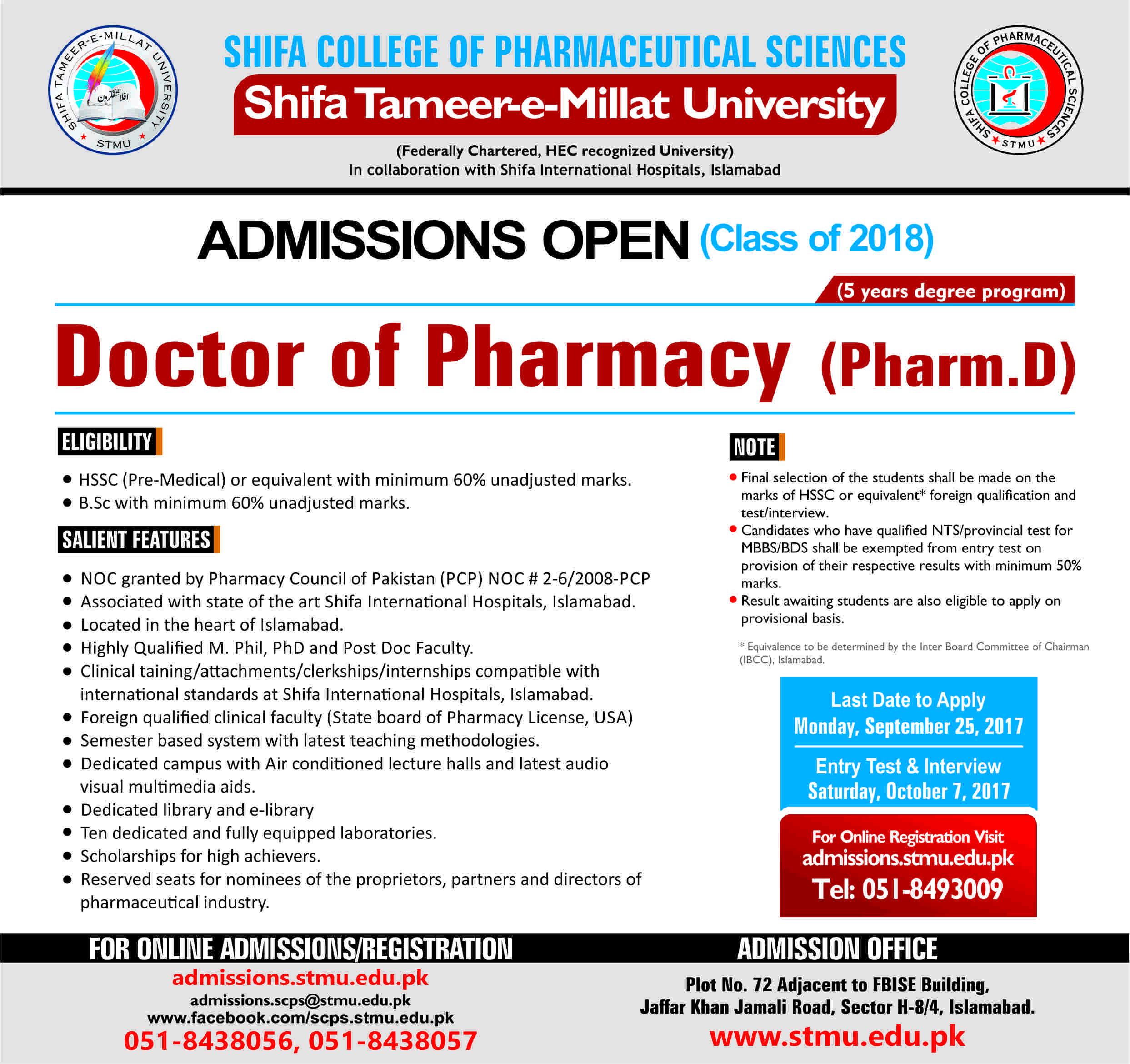 Shifa College of Pharmaceutical Sciences Shifa Tameer-e-Millat University – Admissions Open 2017