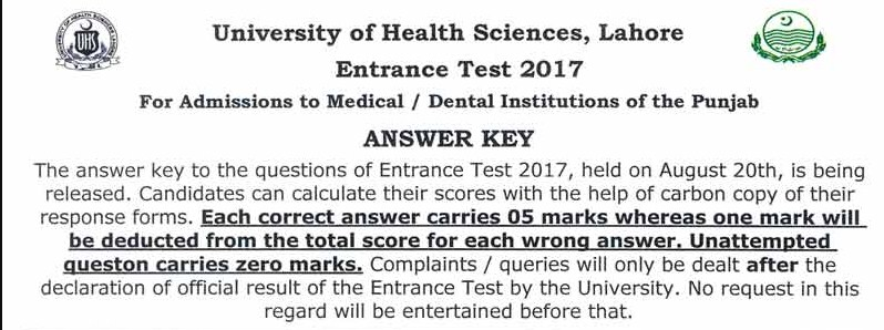 University of Health Sciences (UHS), Lahore Medical & Dental Colleges Admission Test – 2017 Answer Key