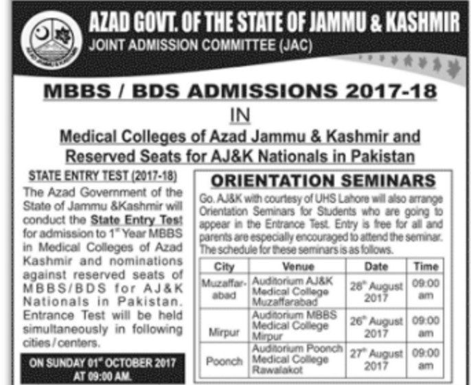 Azad Govt. of the State of Jammu & Kashmir Joint Admission Committee (JAC) MBBS/BDS Admissions 2017-18