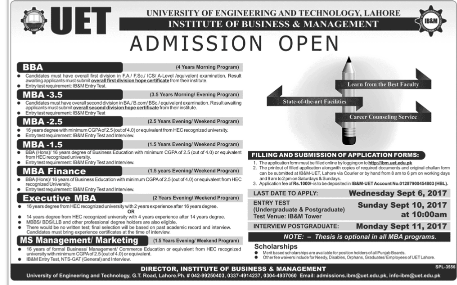 University of Engineering & Technology (UET), Lahore (Institute of Bussiness & Management) Admissions Open – 2017