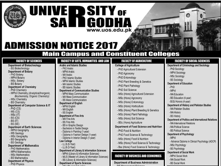 University of Sargodha (UOS) Admissions Open – 2017