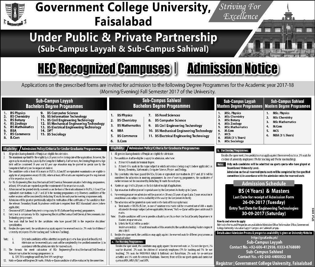 Government College University, Faisalabad Admission Open – 2017