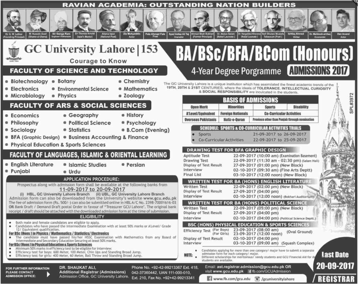 Government College University, Lahore Admissions – 2017 – 2018