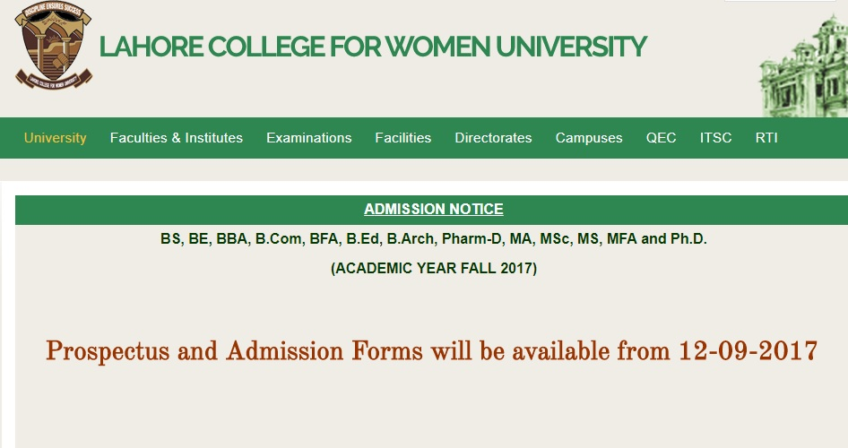 Lahore College for Women University (LCWU), Admissions Open – 2017