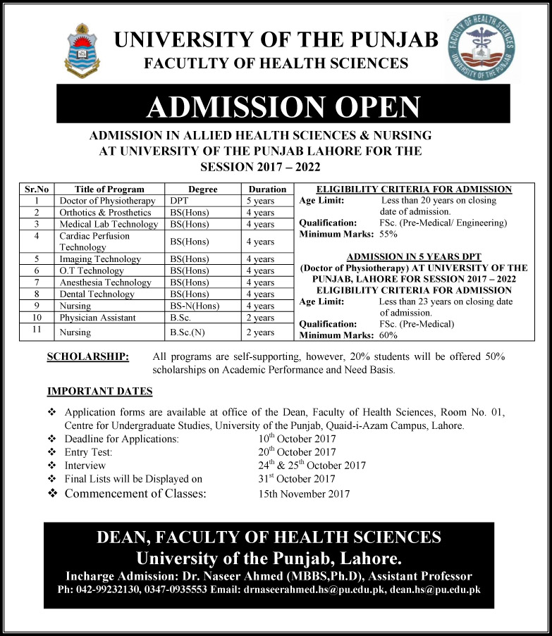 University of the Punjab Admissions Open – 2017