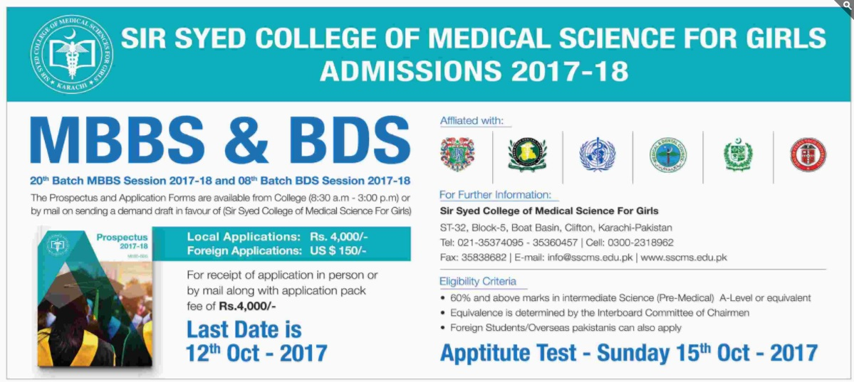 Sir Syed Medical College for Science for Girls Admissions – 2017