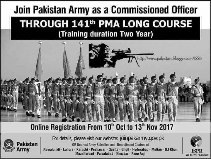 Join Pak Army as a Commissioned Officer Through 141th PMA