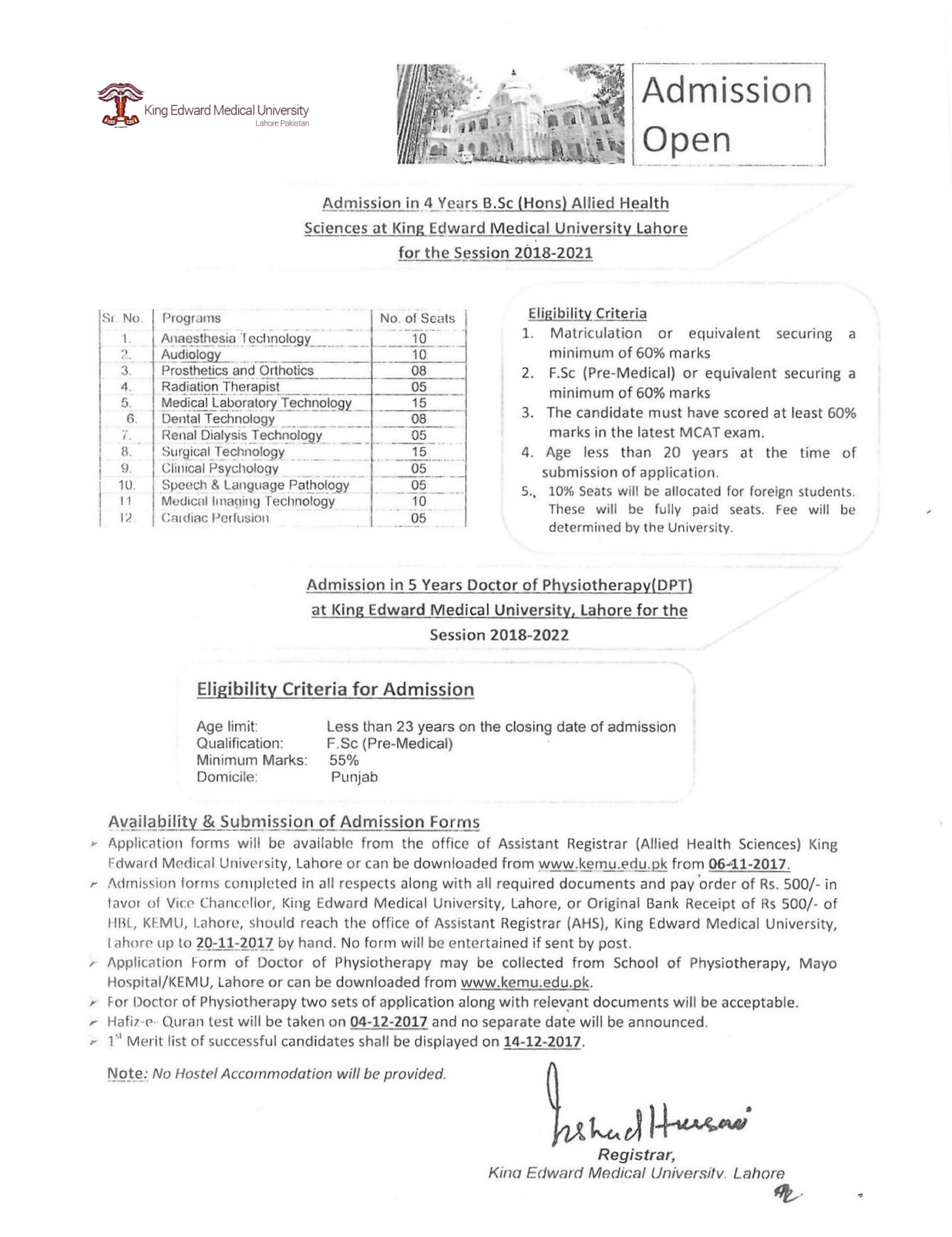 King Edward Medical University, Lahore – Important Dates for B.Sc (Hons) and DPT Admissions – Session 2018