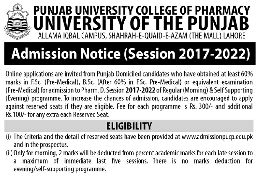 University of the Punjab Punjab University of College of Pharmacy
