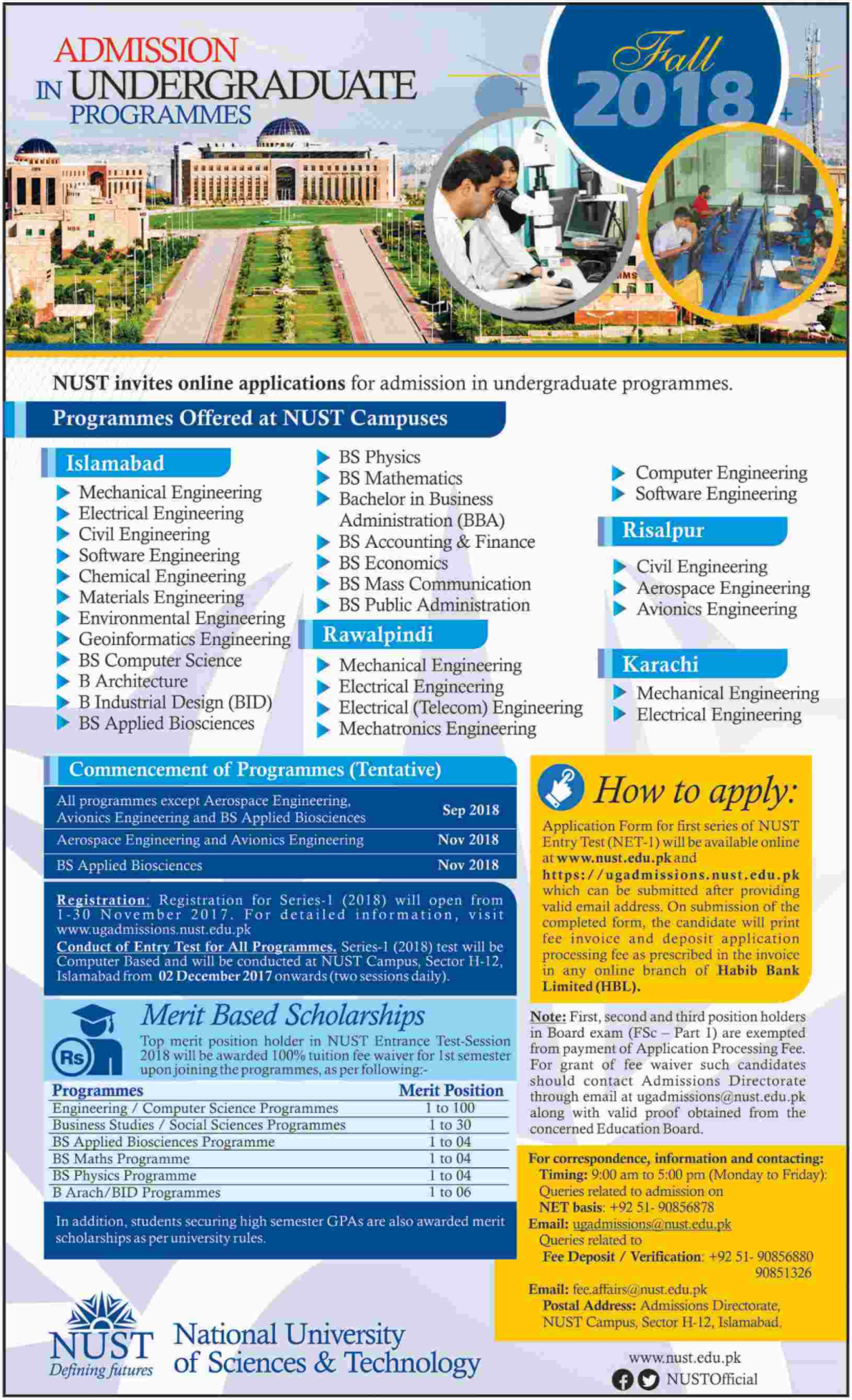 National University of Sciences and Technology (NUST) Admissions 2018 – FALL
