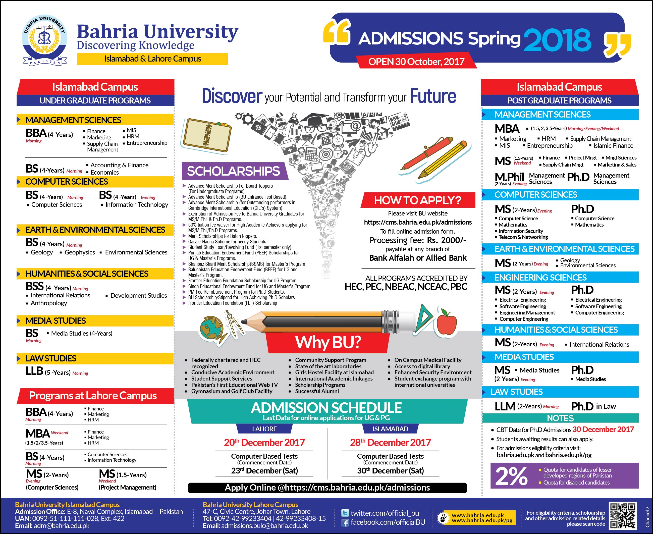 Bahria University Spring Admissions 2018 Islamabad & Lahore Campus