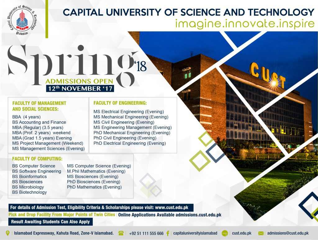 Capital University of Science and Technology - Spring Admissions 2018