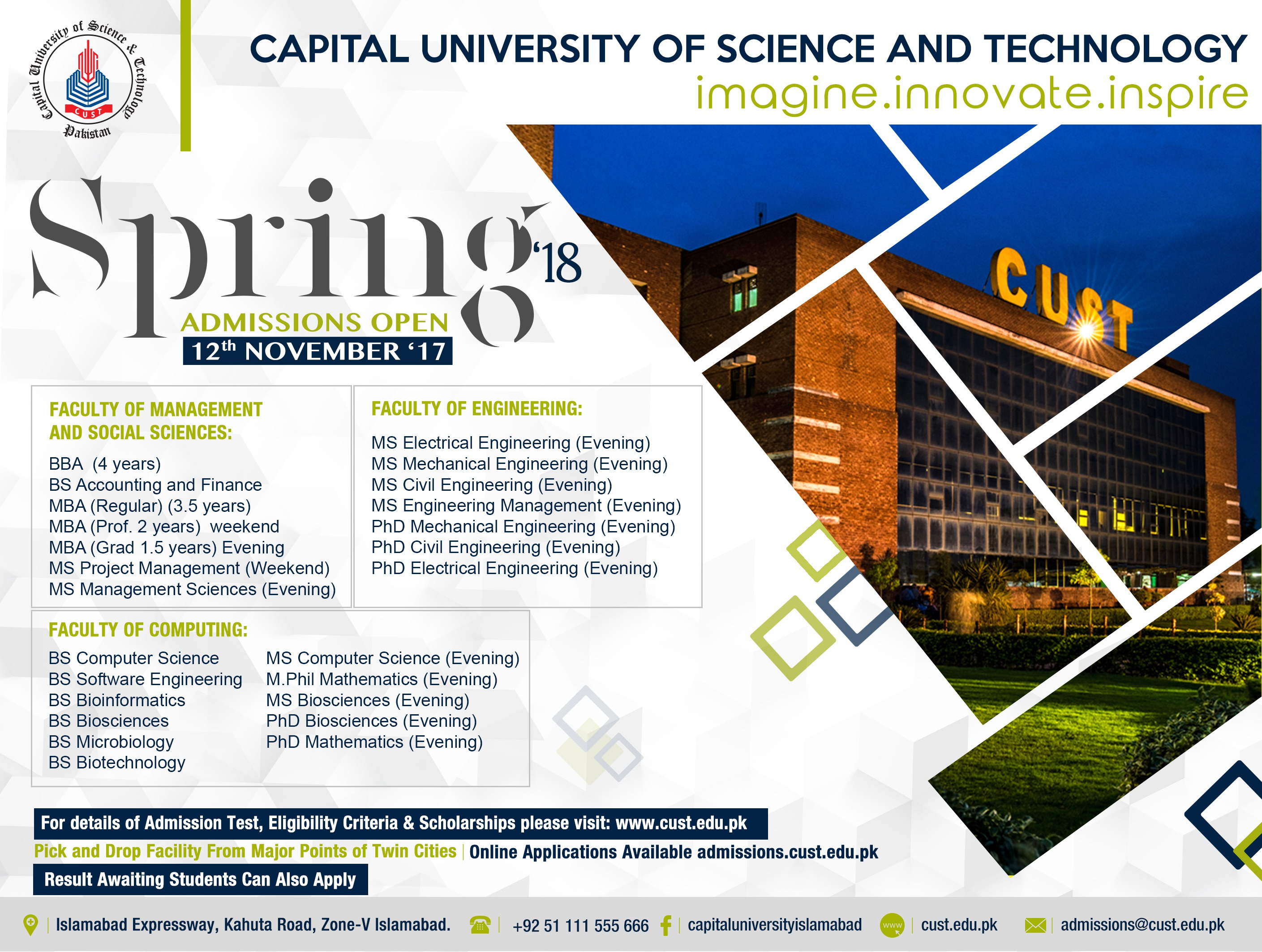 Capital University of Science and Technology – Spring Admissions 2018