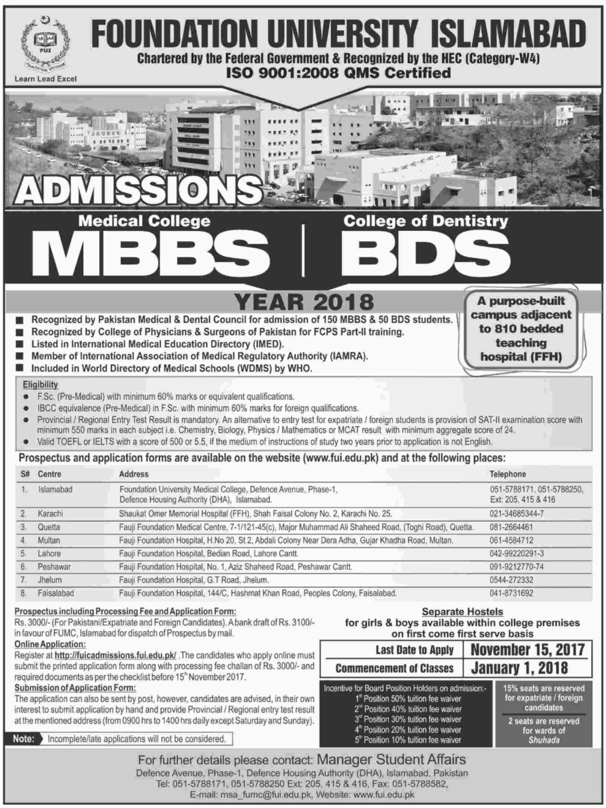 Foundation University, Islamabad (MBBS & BDS) - Admission 2018