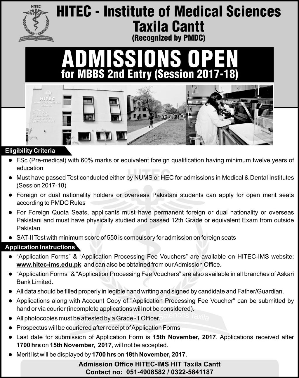 HITEC – Institute of Medical Sciences, Taxila Cantt (MBBS) Admissions 2017 – 18